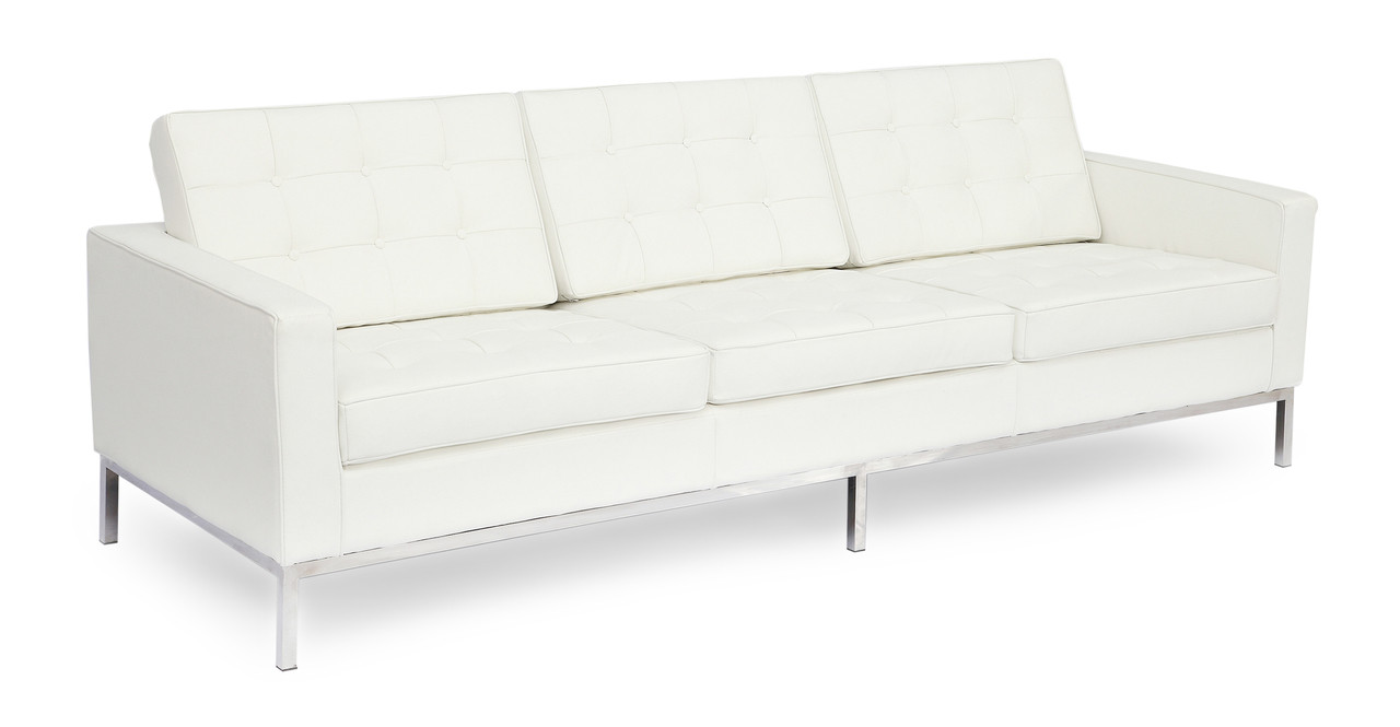 White Leather Couch Florence Sofa Ecume White Leather
