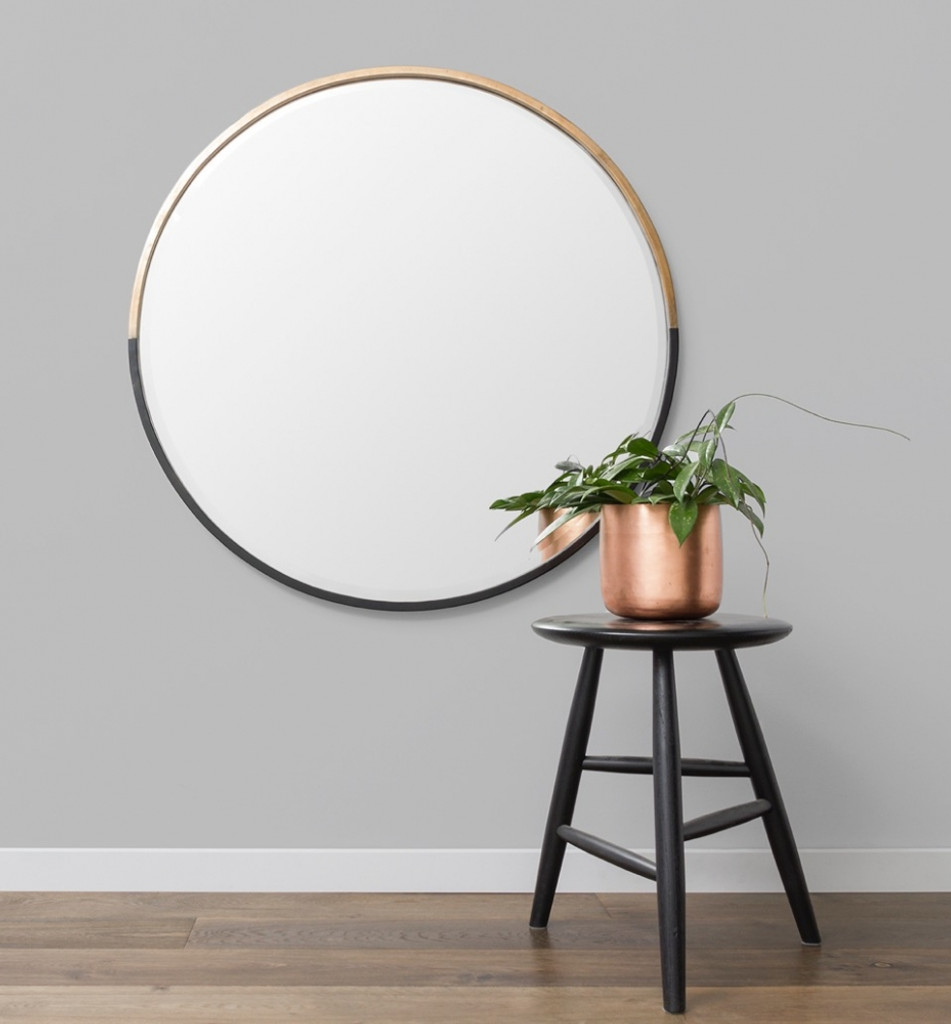 Oval Mirror Perth Half Moon Brass And Black Mirror