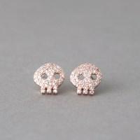 Swarovski Rose Gold Skull Earrings Studs - kellinsilver.com