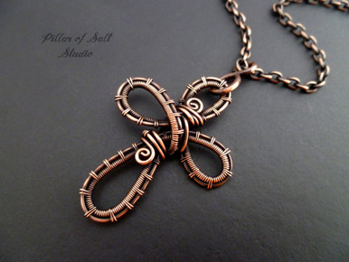 Copper Woven Wire Cross Pendant Necklace Wire Wrapped