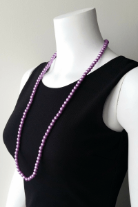 LONG FAUX PEARL NECKLACE WITH EARRINGS. COLOR: PURPLE. (G ...