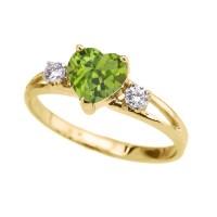 White Gold CZ Peridot Heart Proposal/Promise Ring