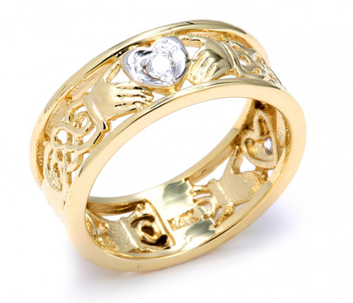 Wholesale Jewelry Gold Pendants Two Tone Gold Diamond Claddagh Wedding Band With Celtic Knot