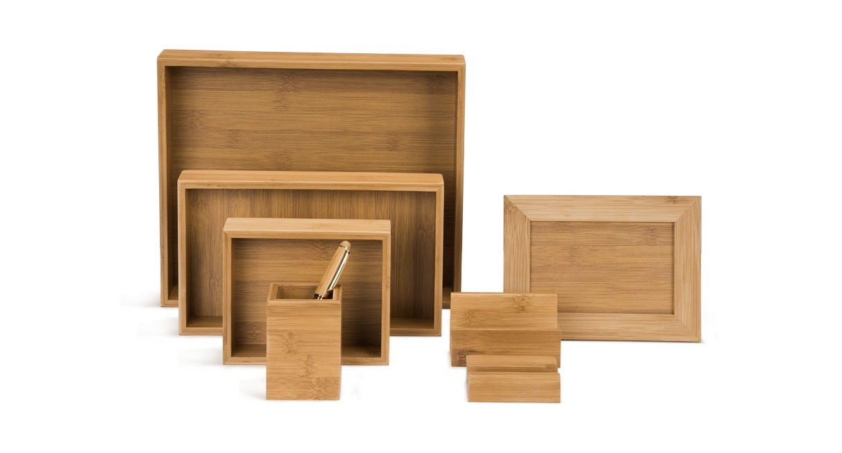 Matching Office Desk Accessories Bamboo Desk Organizer Set
