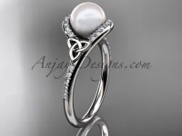 Irish Celtic Engagement Rings White Gold Pearl Ring CTP7317