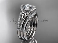 Double Band Diamond Ring Celtic Platinum Set CT7317S