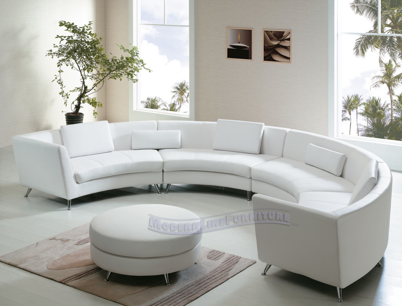 Curved Sofa 8004 Exclusive Extra Long Curved Sectional Sofa With An Ottoman