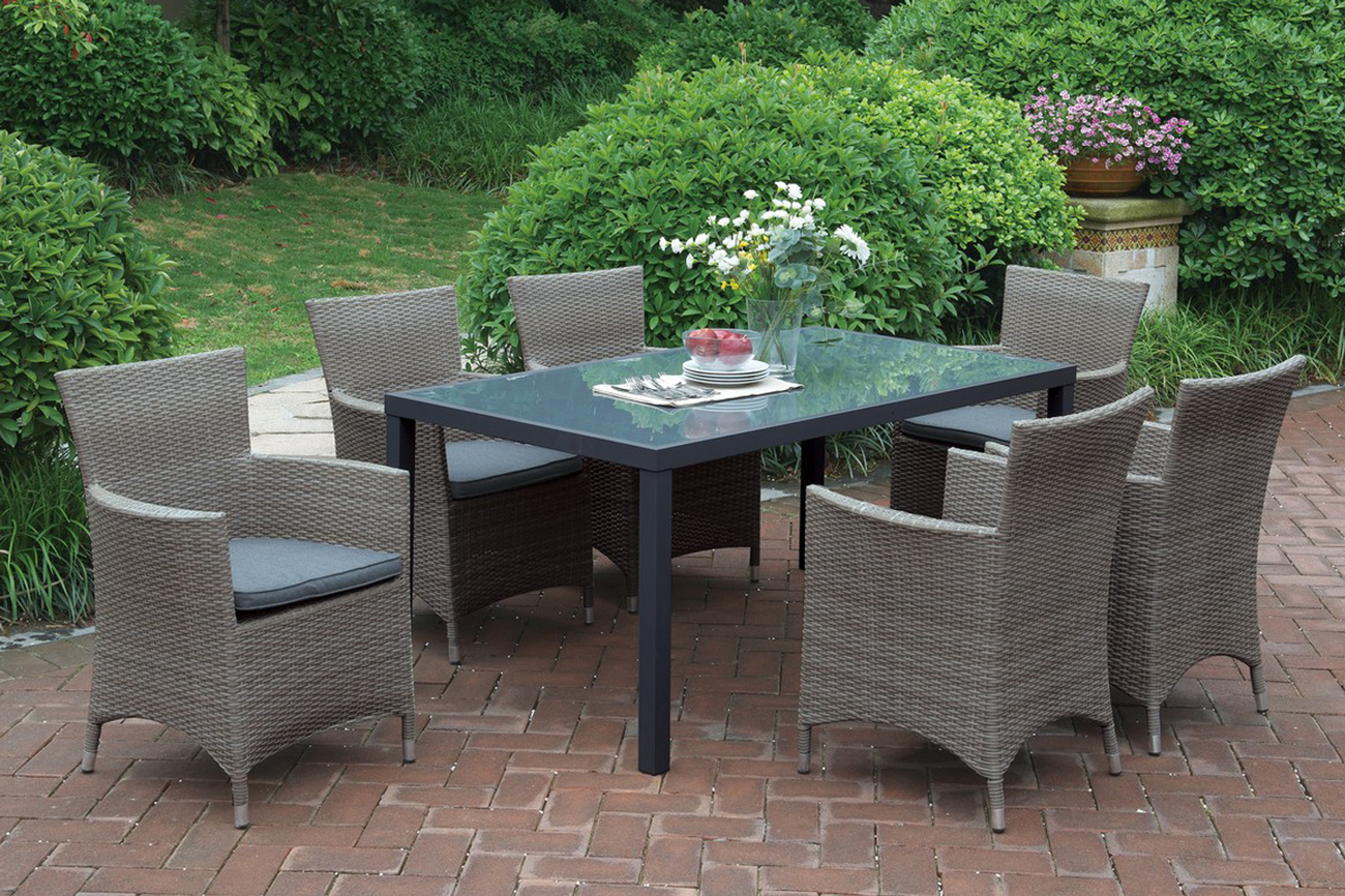 7 Piece Patio Set 7 Seating Outdoor Patio Table Set In Tan Finish