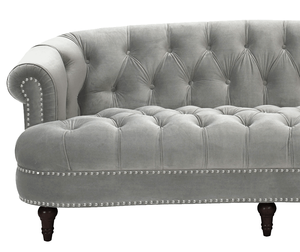 Rosa Couch La Rosa Chesterfield Sofa, Opal Grey - Jennifer Taylor Home