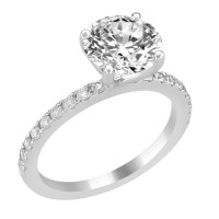 14K White Gold Engagement Ring with Bead Set Diamond Side ...