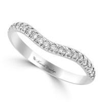 14K White Gold Prong Set Round Diamond Fitted Wedding Band ...