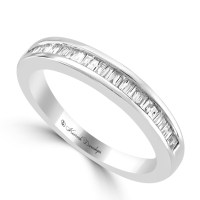 14K White Gold Channel Set Tapered Baguette Diamond ...