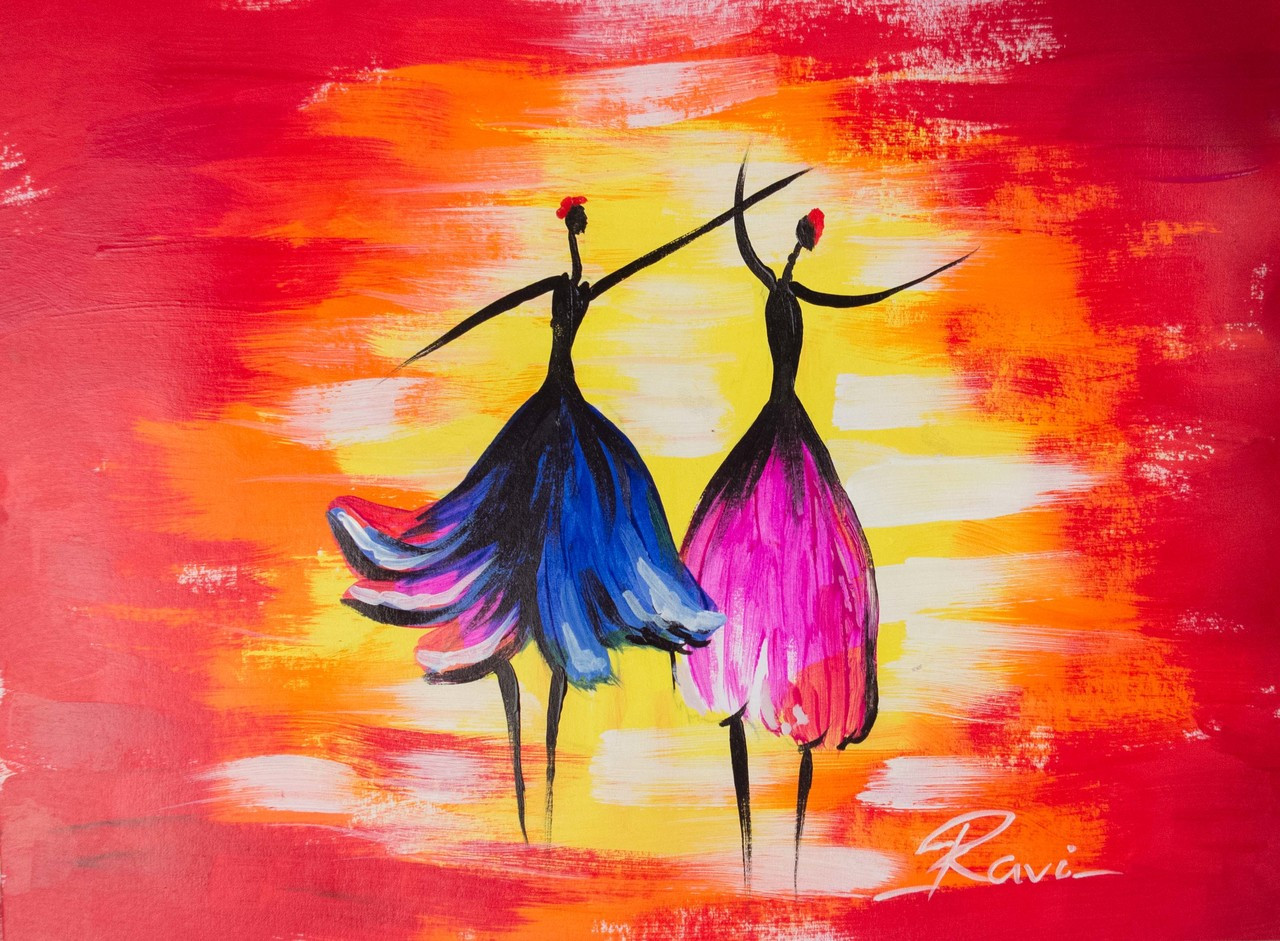 Abstract Painting Of Girl Dancing Buy Two Dancing Girls In A Festival Handmade Painting By