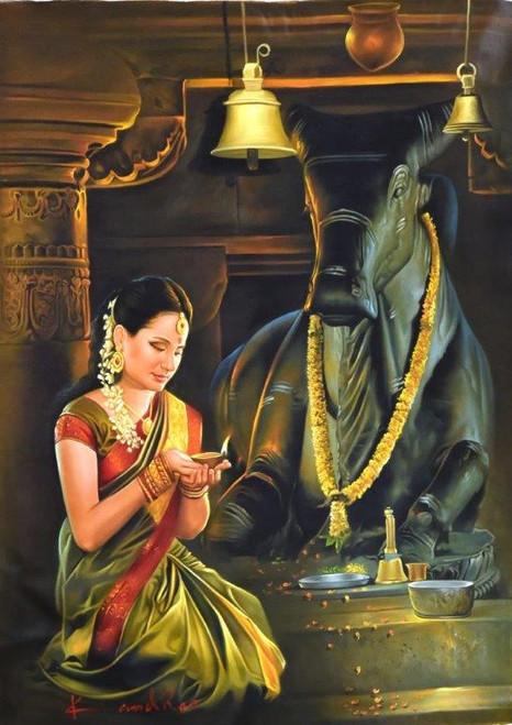 Punjabi Girl And Boy Wallpaper Buy Nandi Puja Handmade Painting By Kamal Rao Code Art