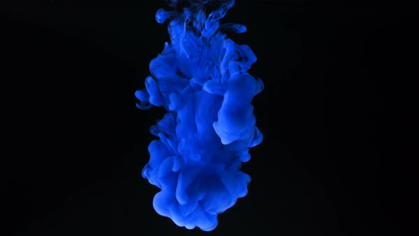Blue ink splash in water on black background - Stock Video Footage