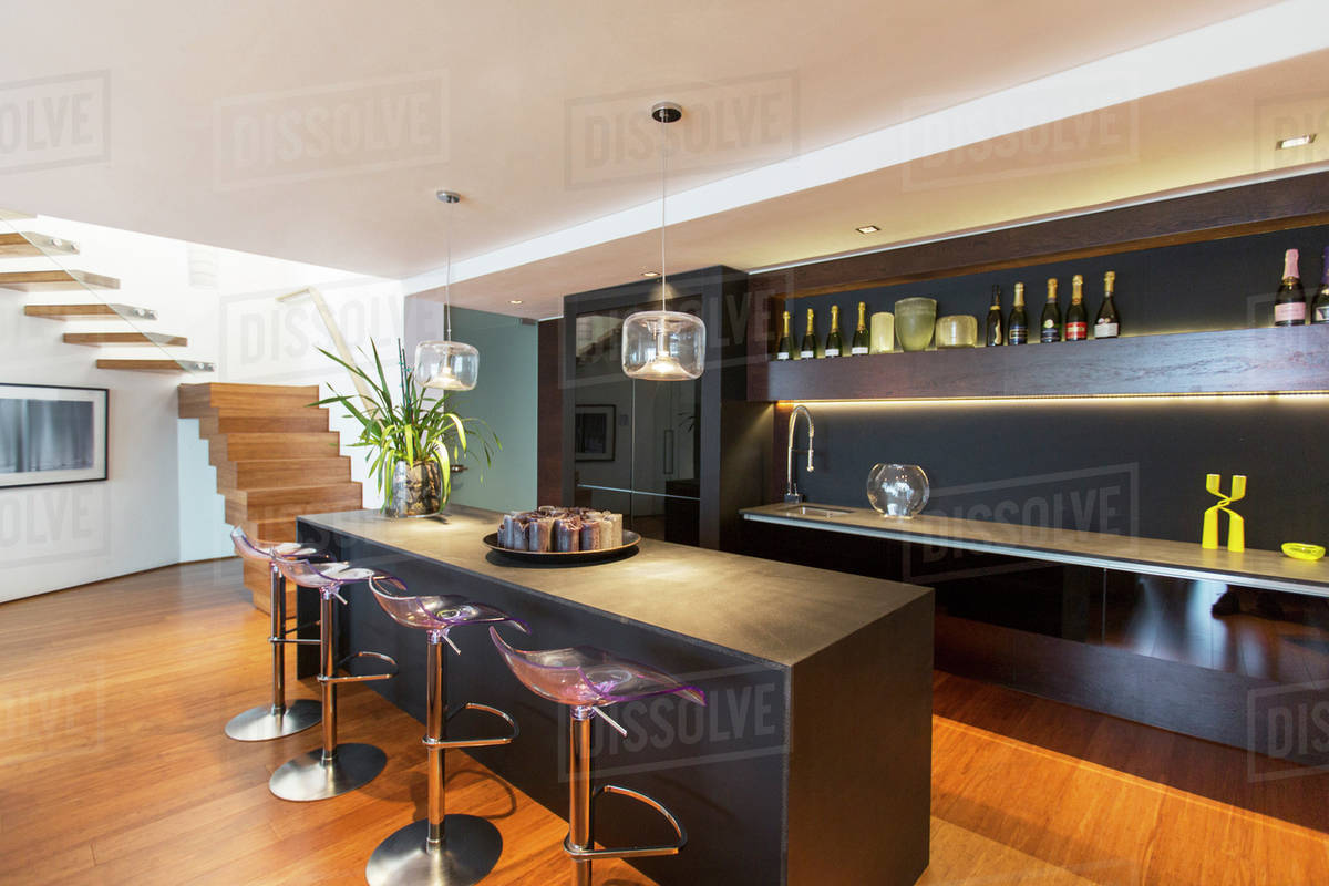 Modern Lounge Bar Stools And Countertop In Modern Lounge Stock Photo