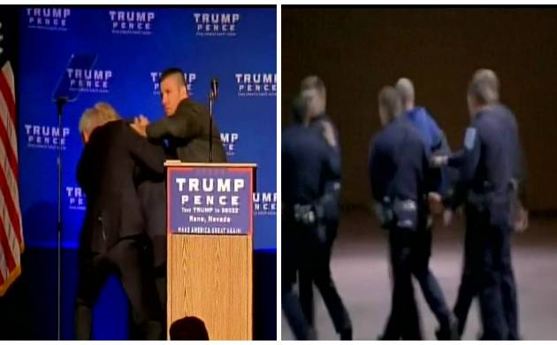 Watch Donald Trump rushed off stage during rally; resumes speech