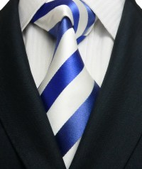 White with blue striped pattern extra long neck tie. - Got ...