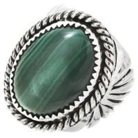 Navajo Malachite Silver Mens Ring 25943