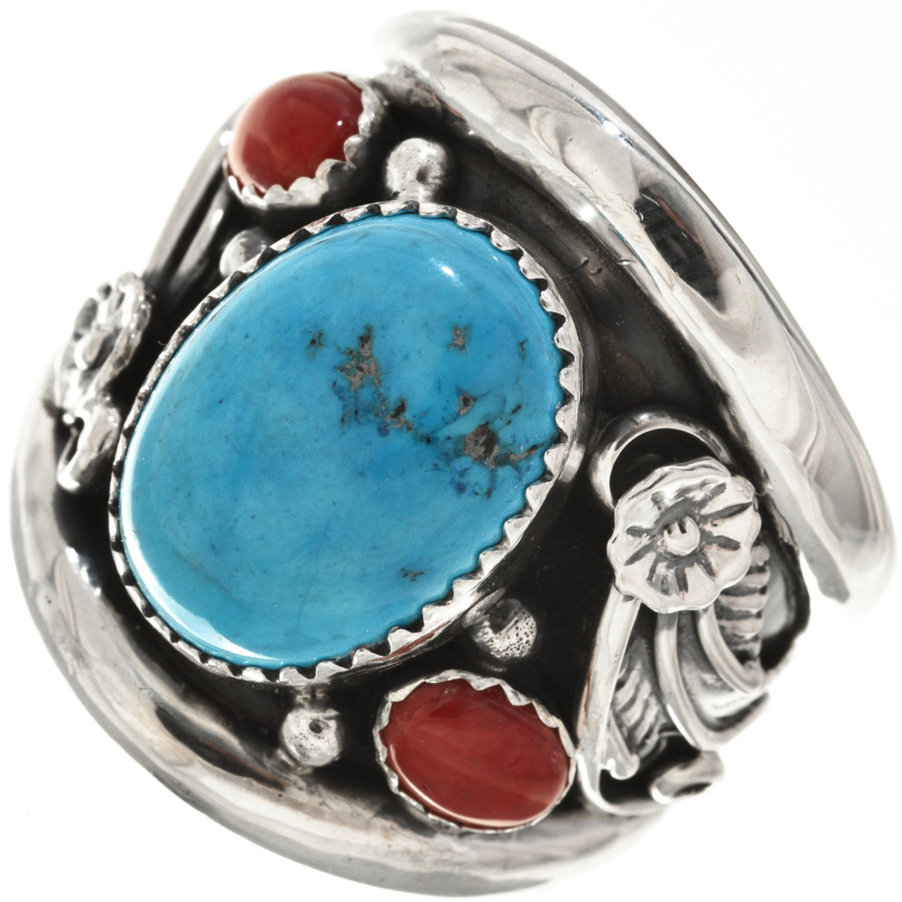 Wholesale Jewelry Arizona Natural Kingman Turquoise Coral Mens Ring 27411