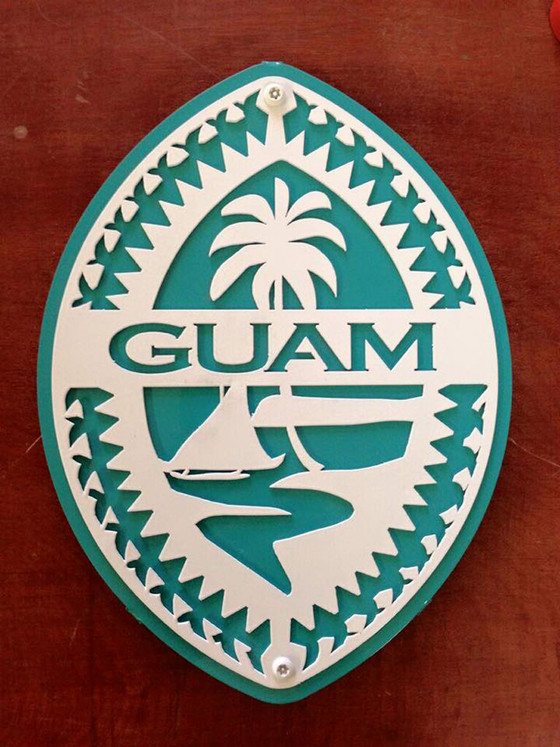 Kitchen Cart Or Island Bluegreen Metal Tribal Guam Seal Wall Art Decor | Gerard