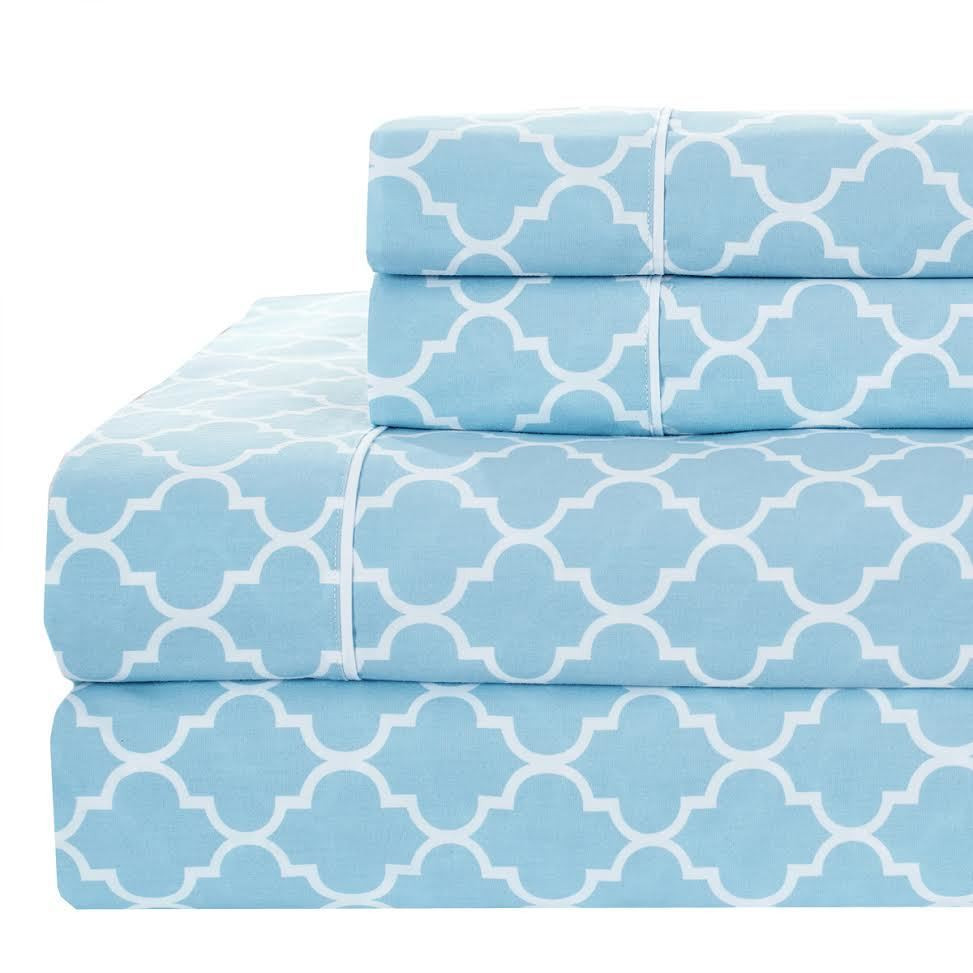 Printed Split King Bed Sheet Sets 100 Cotton Percale