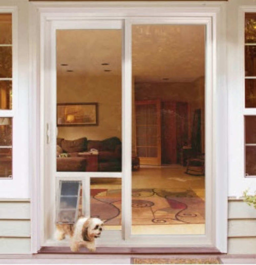 sliding glass door with doggie door