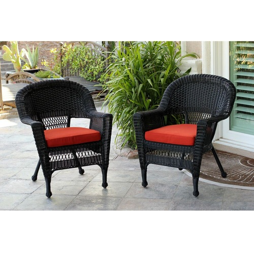 2 Black Resin Wicker Outdoor Patio Garden Chairs With Red