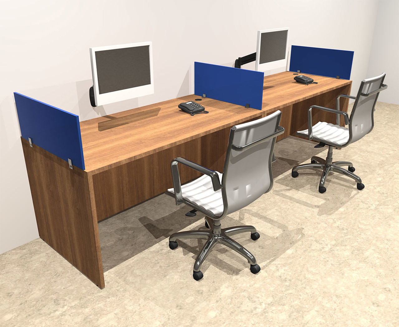Two Person Work Station Two Person Blue Divider Office Workstation Desk Set Ot