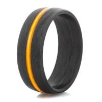 Men's Carbon Fiber Ring with Thin Orange Line - Titanium-Buzz