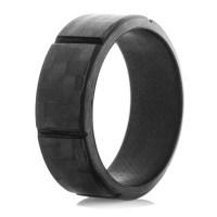 Men's Segmented Carbon Fiber Ring - Titanium Buzz