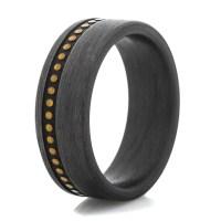 Men's Studded Leather Carbon Fiber Ring - Titanium-Buzz