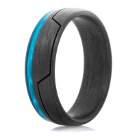 Men's Carbon Fiber Glow in the Dark Ring with Bright Blue ...