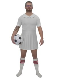 Mens White Football Dress Costume Funny Soccer Fancy Dress