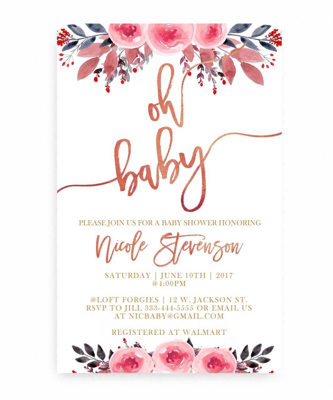 Watercolor Flower Baby Shower Invitation