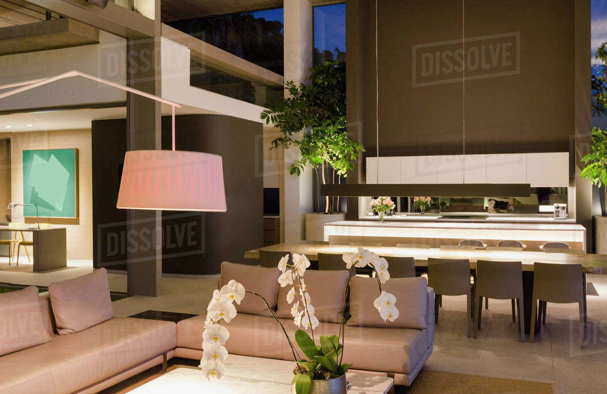 Modern Living Room With Kitchen Interior Design Illuminated Modern Luxury Home Showcase Interior Living Room And Kitchen Stock Photo