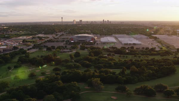 Aerial shot of ATT Center and Freeman Coliseum building surrounded