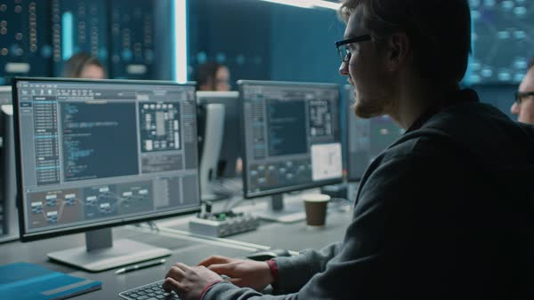 Stock Images Users Smart Male It Programer Working On Desktop Computer In