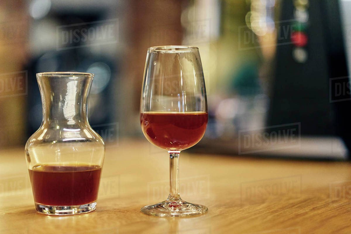 Decanter Wine Glas Decanter And Wine Glass Of Cold Brew Coffee On Coffee Shop Counter Stock Photo