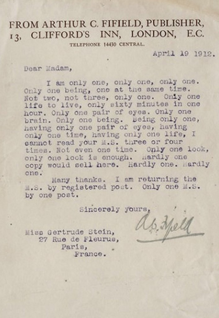 Gertrude Stein Gets a Snarky Rejection Letter from Publisher (1912