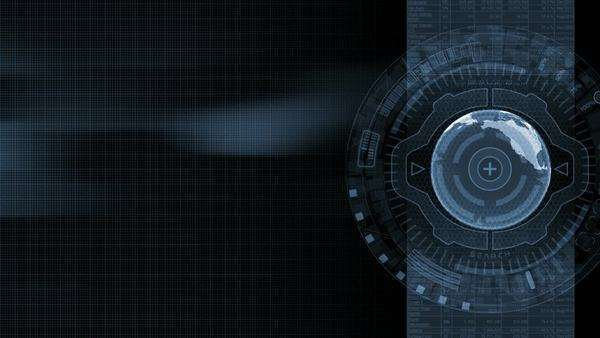 3D animated background with earth in futuristic cyberspace rings