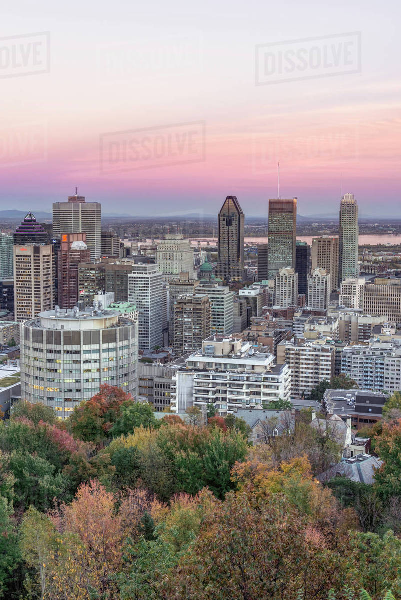 Quebec Montreal Canada Quebec Montreal Sunset On Mount Royal Stock Photo