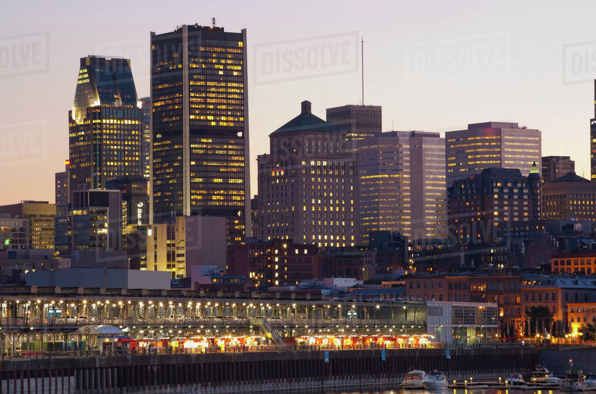 Quebec Montreal Montreal Skyline At Dusk Montreal Quebec Canada Stock Photo