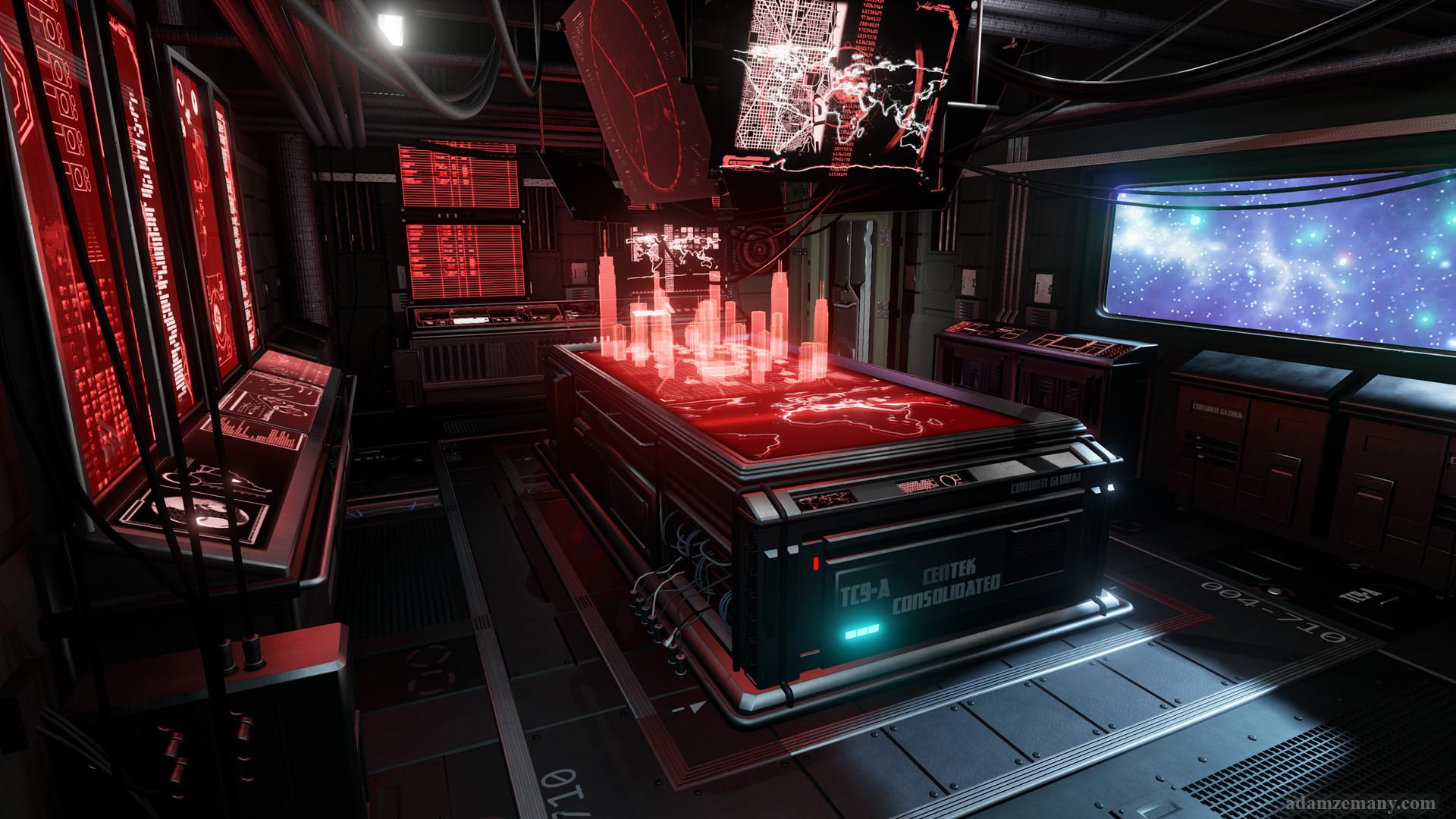 3d Wallpapers Computer Room Artstation Sci Fi War Room Adam Zemany