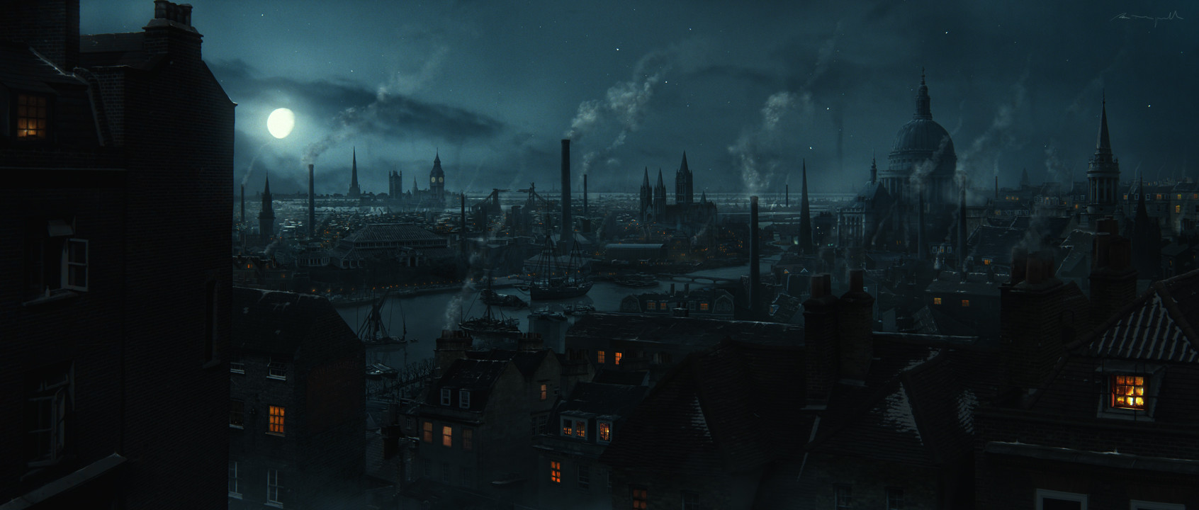 3d Roof Wallpaper Artstation Victorian London During The Night Pau Minguell