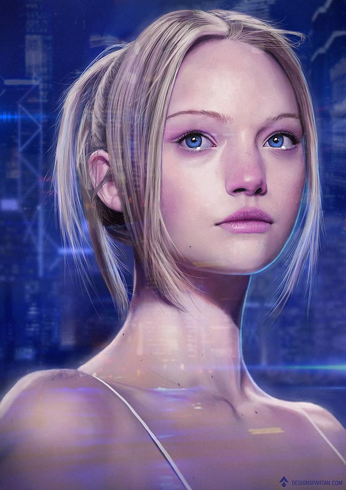 Anime Wallpaper Girls Hair Blonde Eyes Purple Artstation Sci Fi Girl Portrait Ga 233 Tan Weltzer