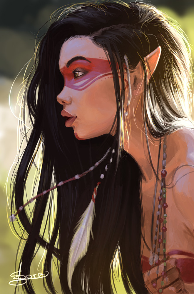 Native American Girl Hd Wallpaper Artstation Indigenous Elf Ana Carolina De Macedo Sora
