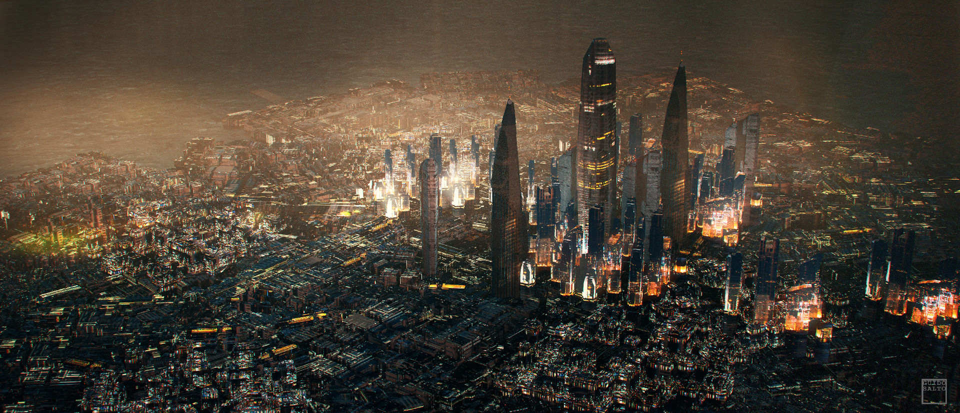 Skyscraper Wallpaper Hd Artstation Cyberpunk City Guido Salto