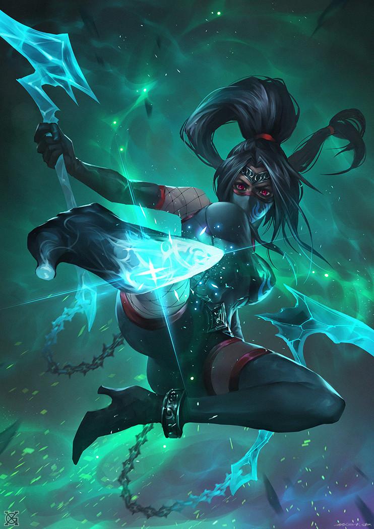 League Of Legend Wallpaper 3d Artstation Darkness Ionia Ghost Assassin Akali Mist Xg