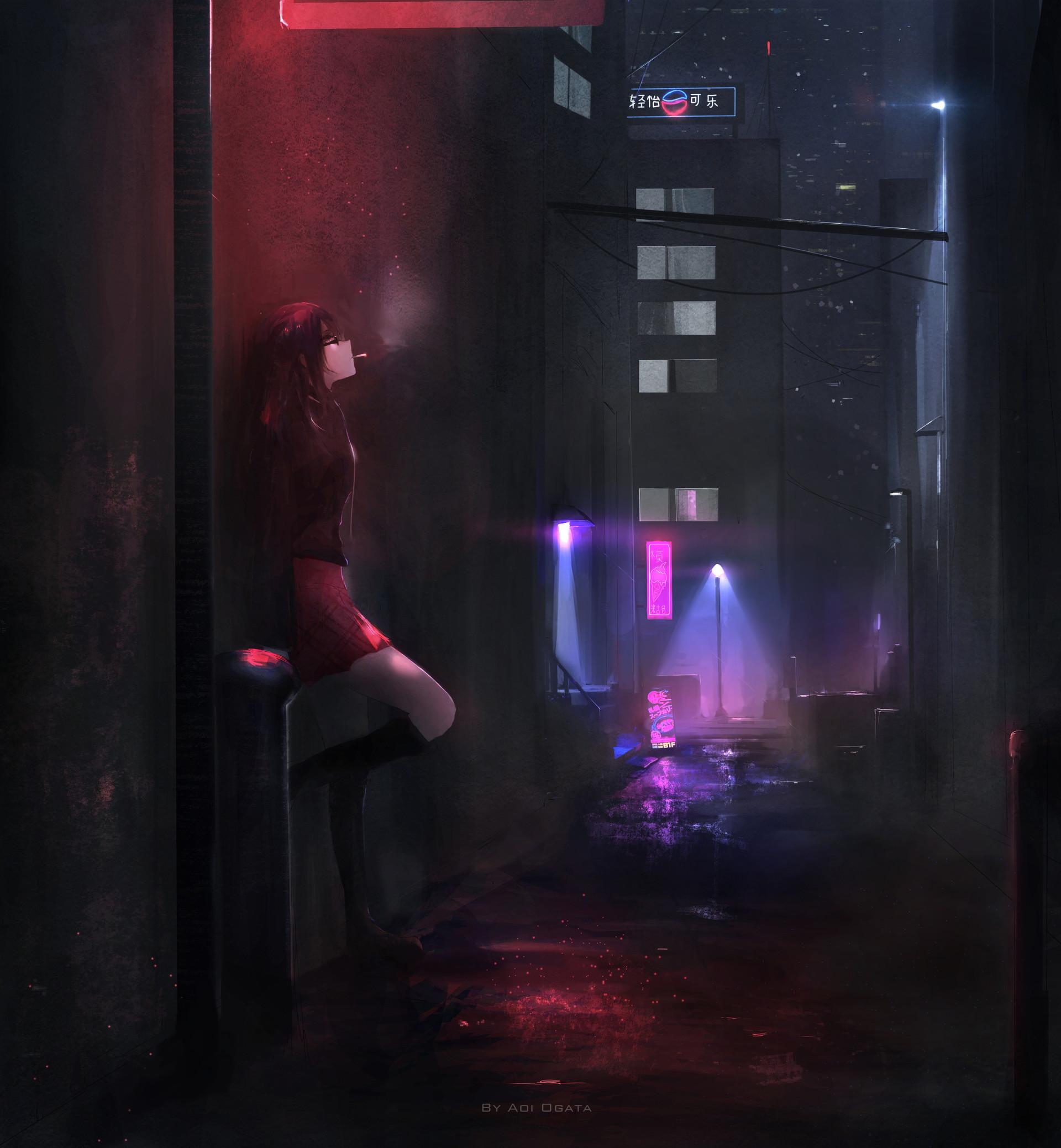 Girl In Rain Hd Wallpaper Aoi Ogata Dark Alley